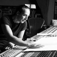 Film composer Alexandre Desplat at the mixing board.
