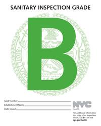 New York City Health Department Restaurant B Grade