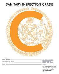 New York City Health Department Restaurant C Grade