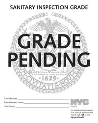 New York City Health Department Restaurant Pending Grade