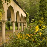 Mediterranean-style buildings at the Caramoor Festival
