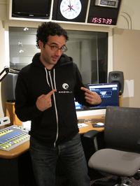 Jad sports a Radiolab hoodie in our studio
