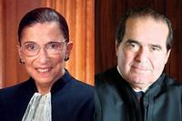 Supreme Court Justices Ruth Bader Ginsburg and Antonin Scalia.