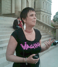 Playwright Eve Ensler on the steps of the Michigan state capitol in Lansing