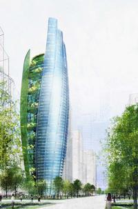 "This William McDonough + Partners design applies the concept of ""building like a tree"" on a large scale. Fortune Tower"