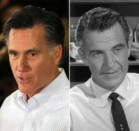 Republican presidential candidate Mitt Romney and actor Hugh Beaumont as Ward Cleaver in Leave It to Beaver