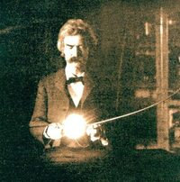 Mark Twain in the lab of Nikola Tesla, spring of 1894