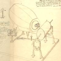 An 1859 drawing of the phonautograph by French inventor Édouard-Léon Scott de Martinville