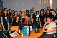 The Young People's Chorus of New York City and composer David Del Tredici recently visited the WQXR station.
