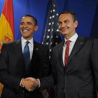 US President Barack Obama shakes hands with Spanish Prime Minister Jose Luis Rodriguez Zapatero