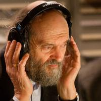 Estonian composer Arvo Pärt during a recording session
