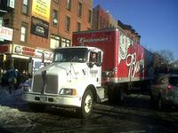 A beer truck trying to make deliveries Tuesday on 5th Avenue in Park Slope, Brooklyn