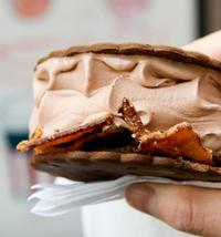 The Big Gay Ice Cream truck's Choinkwich; chocolate ice cream, chocolate cartwheel cookie and caramelized bacon. (
