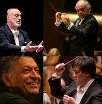 New York Philharmonic music directors: Kurt Masur (clockwise), Lorin Maazel, Alan Gilbert, Zubin Mehta.