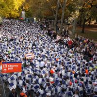 Runners leaving the course after completing the 2008 ING New York City Marathon.
