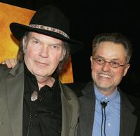 Singer/songwriter Neil Young (L) and director Jonathan Demme (R), February 7, 2006.