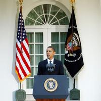 U.S. President Barack Obama speaks from the Rose Garden of the White House after winning the Nobel Peace Prize October 9, 2009.