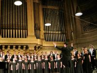 The Yale Glee Club during its annual Family Weekend concert in Woolsey Hall