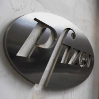 A sign at the New York headquarters of pharmaceutical company Pfizer Incorporated.
