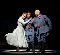 Nino Machaidze as Marie, Lawrence Brownlee as Tonio, and Maurizio Muraro as Sulpice in Donizetti's 'La Fille du Régiment'