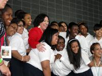 Sotomayor with Cardinal Spellman High School students.
