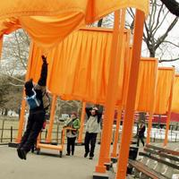 Workers begin dismantling 'The Gates' art installation created by Christo and Jeanne-Claude on February 28, 2005.