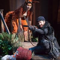 Isabel Bayrakdarian (Vixen) and Joshua Bloom (Harašta, a poultry dealer) in the New York Philharmonic's production of Janáček's The Cunning Little Vixen, conducted by Music Director Alan Gilbert