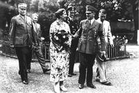At the Bayreuth Festival, (from left) Wilhelm Bruckner, Wolfgang Wagner, Winifred Wagner, unidentified SS guard, Adolf Hitler, Wieland Wagner