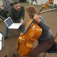 Cellist Laura McLellan made a rare appearance with Chanticleer last week when bass Eric Alatorre fell ill.