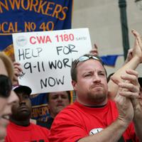 Rescue workers and other 9/11 first responders rally near Ground Zero to address their long-term health needs, on Sep. 8, 2007