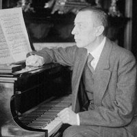 Sergei Rachmaninoff in a rare photograph.