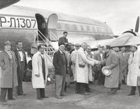 The Boston Symphony Orchestra is greeted at the airport in Leningrad in September 1956.
