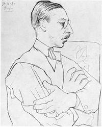 Igor Stravinsky as drawn by Pablo Picasso, 1920