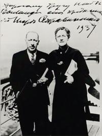 Igor Stravinsky and Nadia Boulanger on board a transatlantic steamer in 1937.