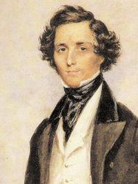 A portrait of Mendelssohn by the English miniaturist James Warren Childe.