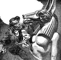 Main illustration from the short story 'The Opener of the Way.' Internal Illustration from the pulp magazine Weird Tales (October 1936, vol. 28, no. 3, page 277).
