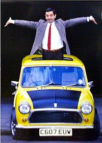 Mr. Bean pops out of a car