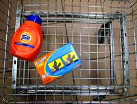 Tide and Bounce in a shopping cart