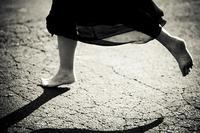 running away in a dress feet