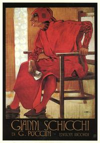 'Gianni Schicchi' poster from 1918–19 by Leopoldo Metlicovitz, probably for the Italian premiere in Rome, January 1919