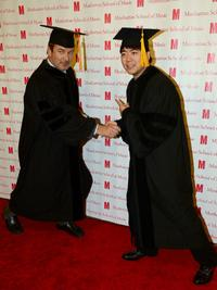 Actor Alec Baldwin (L) and Pianist Lang Lang receive an honorary degree from the Manhattan School of Music
