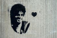 Michael Jackson stencil with heart