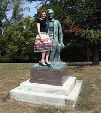 Naomi Lewin poses with Stephen Foster, in Cincinnati's Alms Park