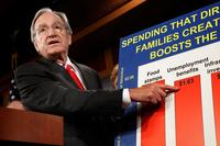 Sen. Tom Harkin (D-IA) talks about extending unemployment benefits during a news conference with fellow Senate Democrats at the U.S. Capitol late last year