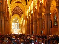 Congregants at St. Mary's Cathedral, Sydney.