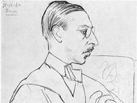 Igor Stravinsky as drawn by Pablo Picasso, 1920