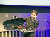 New York Philharmonic concertmaster Frank Huang donates a violin to the 2016 WQXR Instrument Drive.