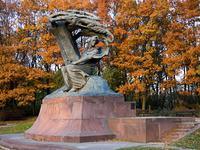 The Chopin statue at Lazienki Park in Warsaw, Poland.