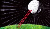 Illustration of a ladder to the moon