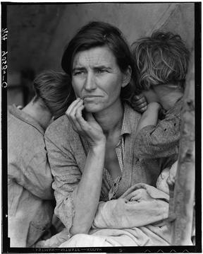 The retouched version of Dorothea Lange's photo of Florence Owens Thompson and her children, taken in 1936 in Nipomo, California.